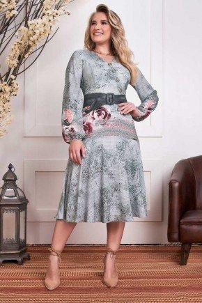 vestido envelope manga longa estampado fascinius