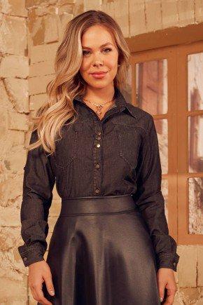 camisa jeans black com bolsos frontais via tolentino cima