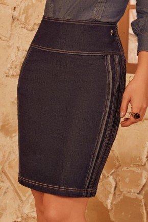 saia jeans marinho recortes laterais via tolentino baixo