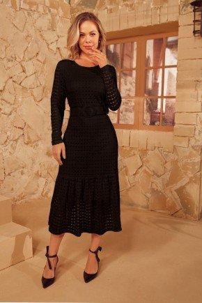 vestido preto midi em lesie via tolentino