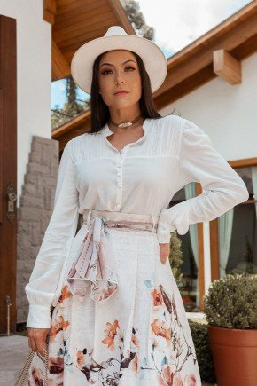 camisa feminina off white com preguinhas jany pim