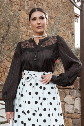 camisa feminina preta em chiffon jany pim cima