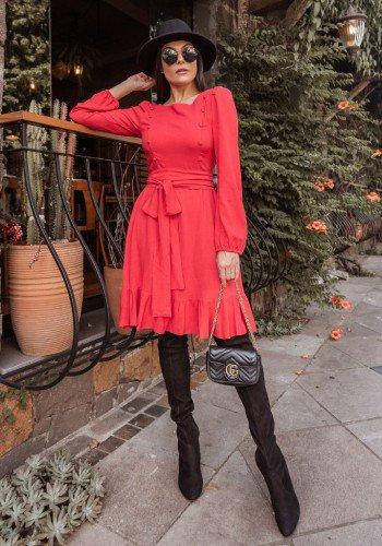 vestido gode vermelho em viscolinho jany pim