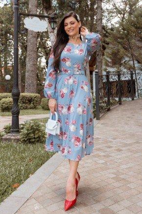 vestido gode azul claro floral manga longa jany pim