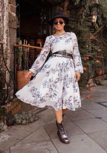 vestido off white em chiffon estampado jany pim