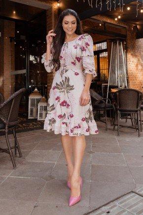 vestido rose floral com babados jany pim