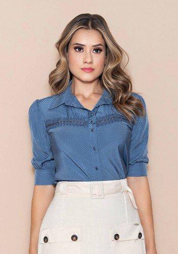 camisa manga 3 4 tecido textura de poa nitido jeans cima