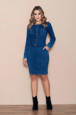 vestido azul escuro em denim com bolsos nitido jeans