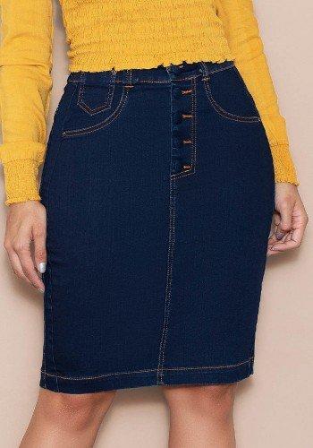 saia jeans marinho com pespontos destacados nitido baixo