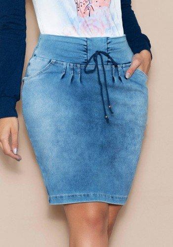saia em malha denim com preguinhas nitido jeans baixo