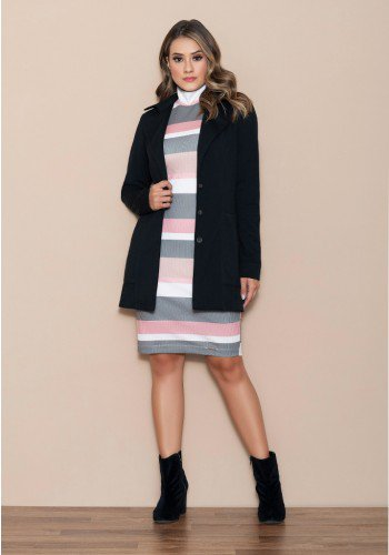 casaco feminino trend coat preto nitido jeans