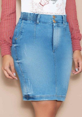 saia jeans elastico no cos nitido jeans baixo