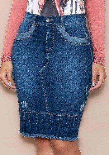 saia jeans detalhe em pregas nitido jeans baixo