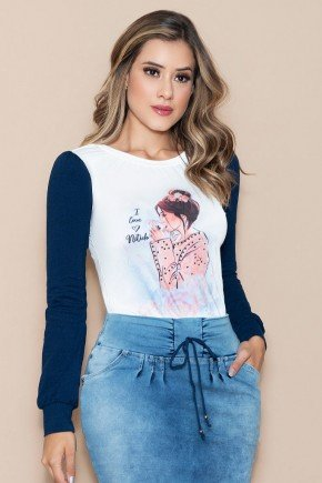 t shirt estampa mangas longas marinho nitido jeans
