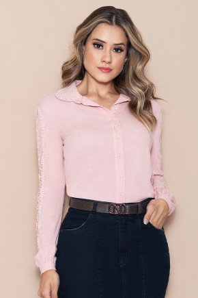 camisa feminina rose com guippir nitido jeans cima