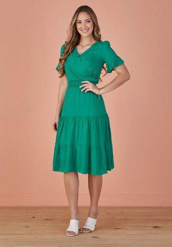 vestido verde evase transpassado tata martello