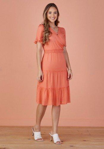 vestido laranja evase transpassado tata martello
