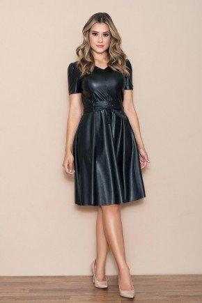 vestido evase preto couro fake com cinto nitido