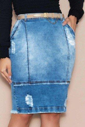saia jeans destroyed com cinto nitido jeans baixo