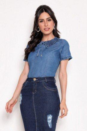 blusa feminina detalhe franzido com amarracao laura rosa lr89501 2