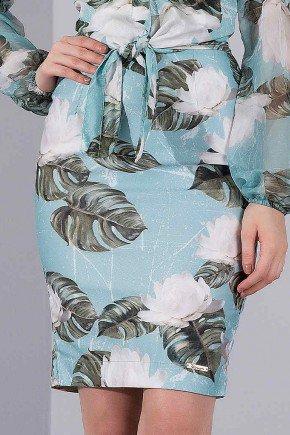 saia em sarja lapis estampa floral verde titanium jeans baixo