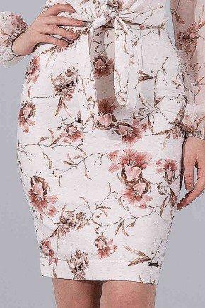 saia em sarja lapis estampa floral rose titanium jeans baixo