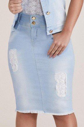 saia jeans detalhes em renda e perolas nos puidos titanium baixo