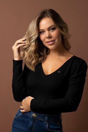 blusa preta decote v manga franzida via tolentino