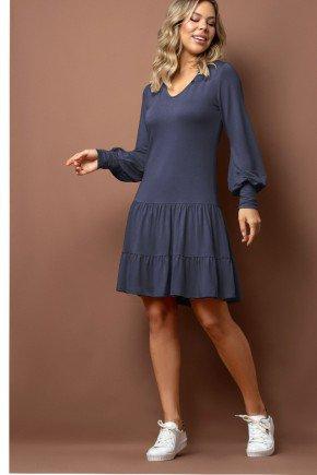 vestido azul em moletinho com duplo babado via tolentino