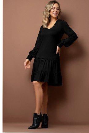 vestido preto em moletinho com duplo babado via tolentino