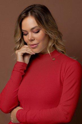 blusa basica canelada vermelha gola alta via tolentino