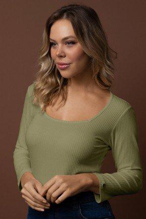 blusa canelada decote quadrado manga 34 via tolentino