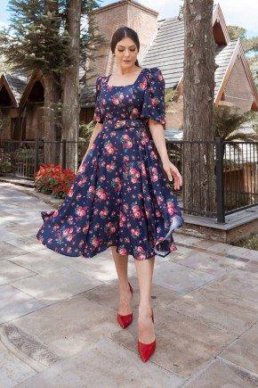 vestido gode azul mazinho com florais jany pim