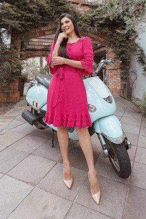 vestido pink gode em viscolinho jany pim