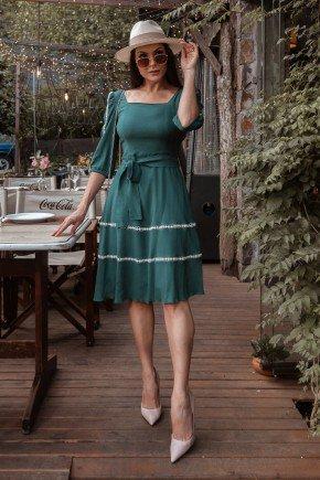 vestido verde gode detalhe de entremeios jany pim