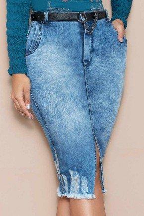 saia jeans midi com fenda frontal e barra desfiada nitido