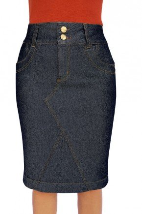 saia jeans marinho recortes frontal dyork jeans