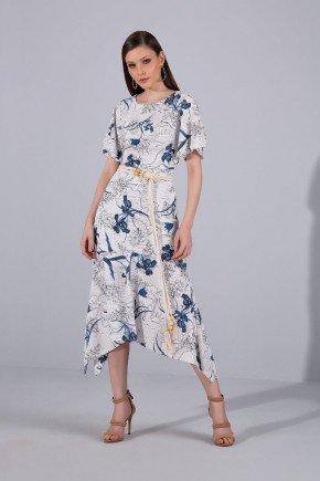 vestido floral barra assimetrica titanium jeans