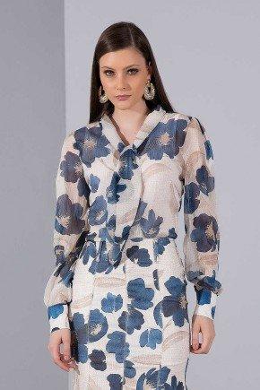 camisa off white floral azul gola laco titanium jeans cima