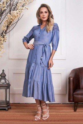 vestido azul jeans com babados e entremeios fascinius 2