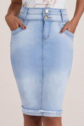 saia jeans clara cos alto barra desfiada titanium baixo