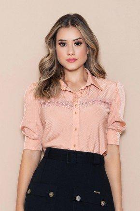 camisa feminina mangas 3 4 salmao nitido jeans cima