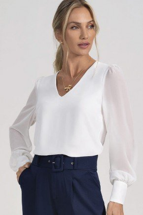 blusa off white decote v guilhermina principessa modelo