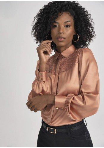 camisa rose decote em renda graziela principessa modelo