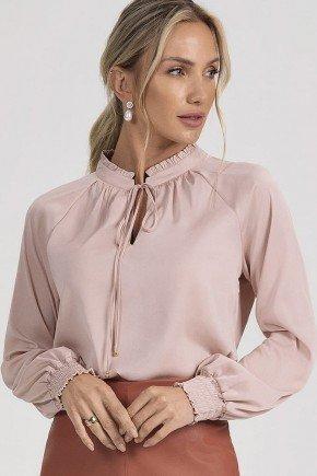 blusa nude decote franzido glenda principessa cima