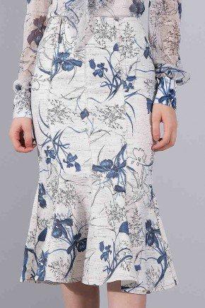 saia sino off white estampa floral titanium jeans