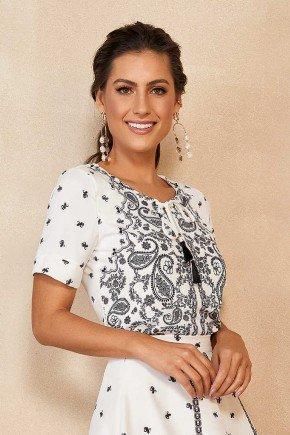 blusa feminina estampada com cordao no decote titanium
