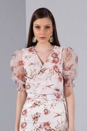 blusa estampada floral mangas bufantes titanium jeans cima