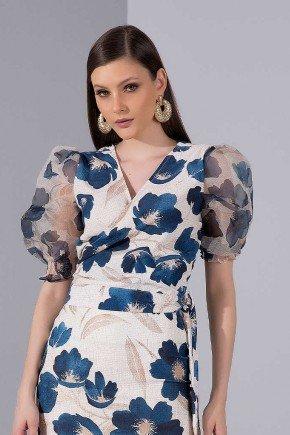blusa mangas bufantes estampada floral titanium jeans cima