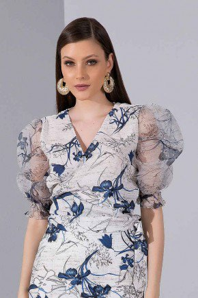 blusa mangas bufantes estampa floral titanium jeans cima